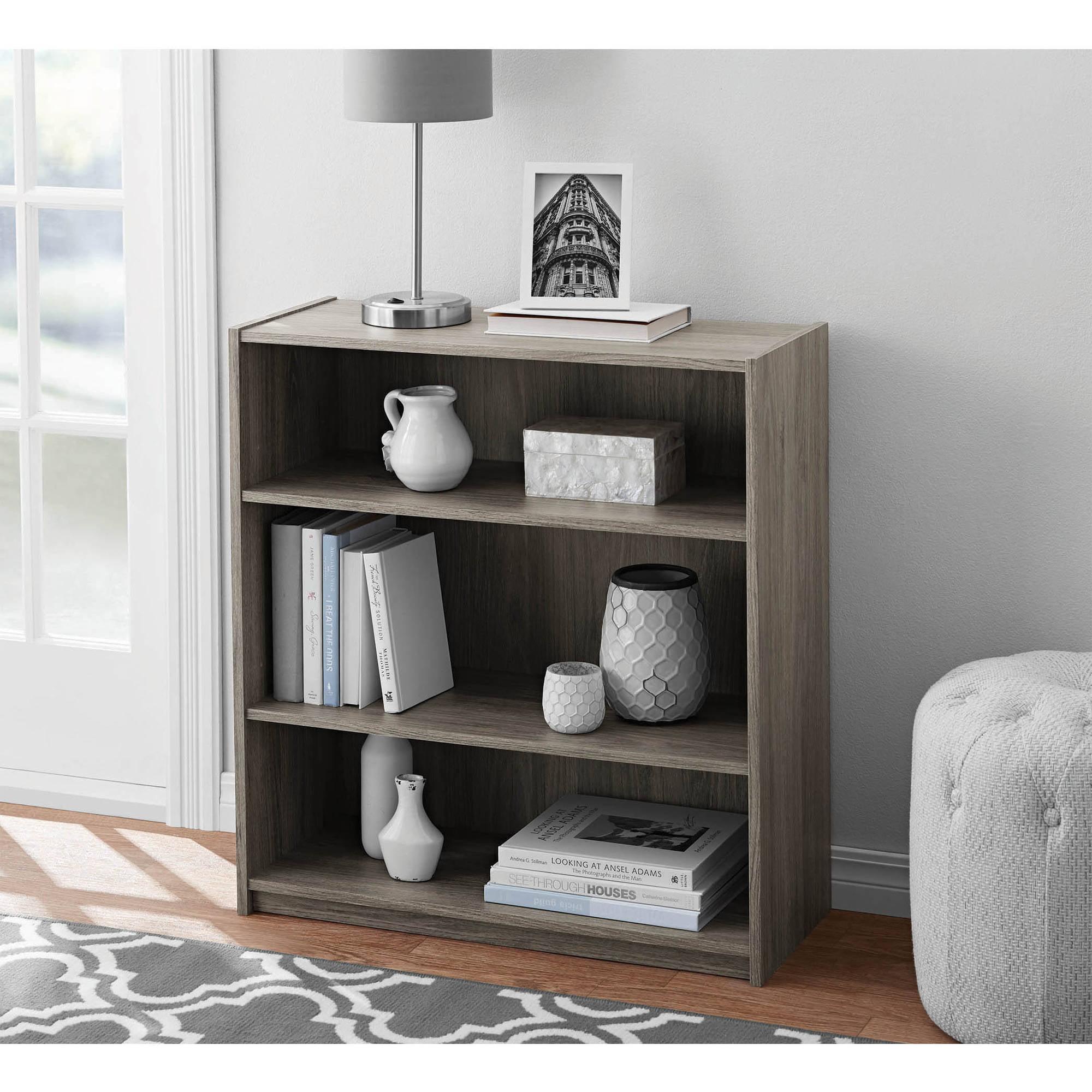 Book Furniture: Adjustable 3 Shelf Wood Bookcase Storage Shelving Book