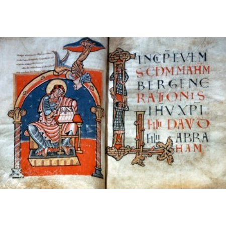 Carolingian Bible St Matthews Gospel illuminated manuscript Italy Rome Basilica of Saint Paul Outside the Walls Canvas Art -  (18 x (Basilica Of Saint Paul Outside The Walls Rome)