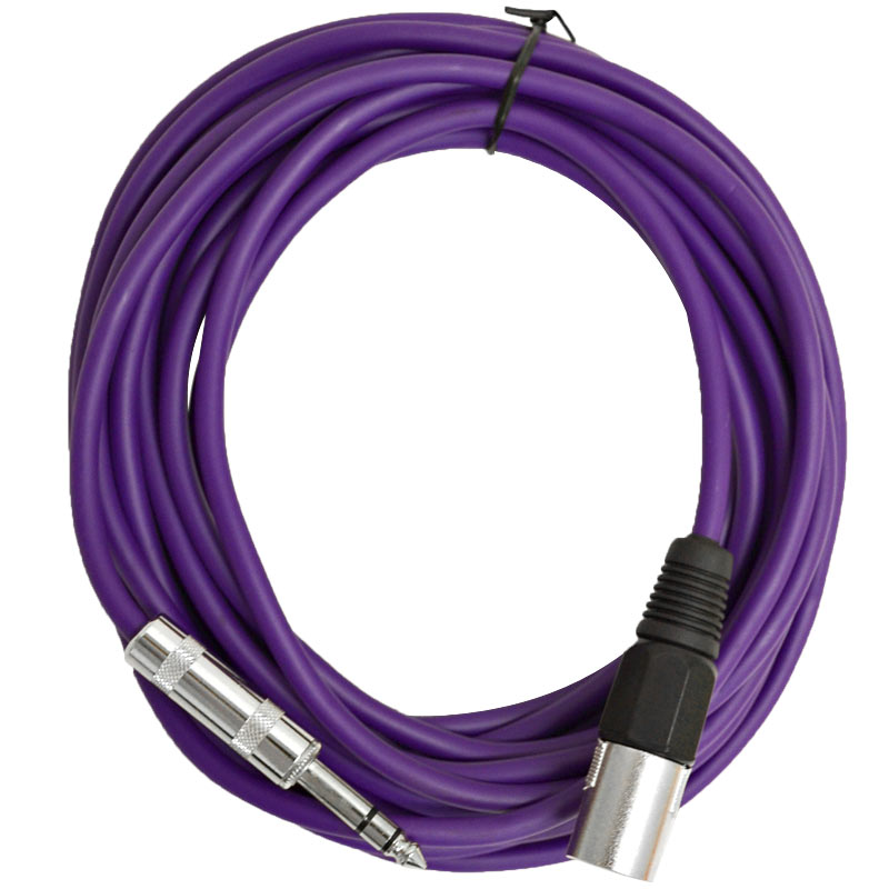 "Seismic Audio  - 25 Foot Purple XLR Male to 1/4"" TRS Patch Cable Snake Cords NEW Purple - SATRXL-M25Purple"