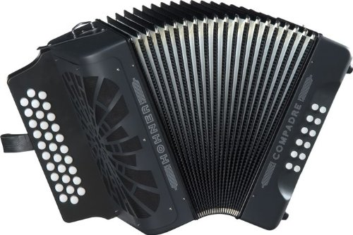 Hohner Button Accordion Compadre FBbEb, With Gig Bag And Straps, Black by Hohner