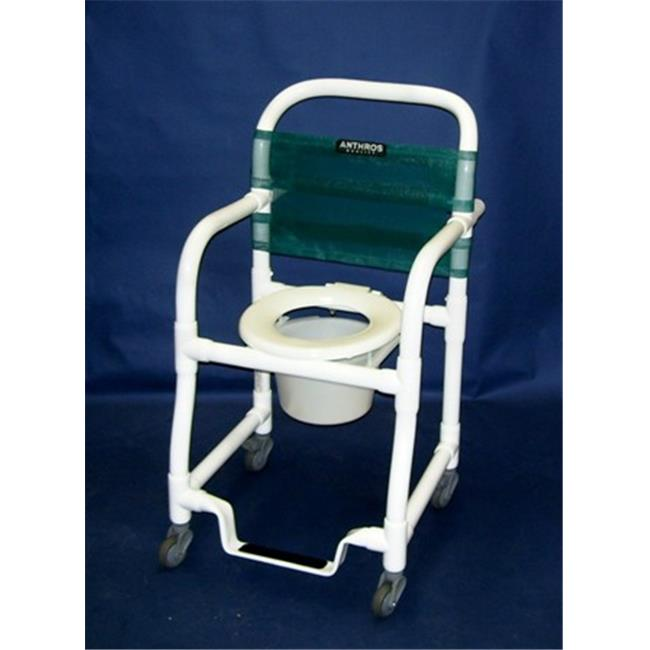 Anthros Medical C1800-3PF Shower Commode Chair, 18 in. Swing-Away, 3 in. Casters, Hinged Ring Seat, Footrest, Pail
