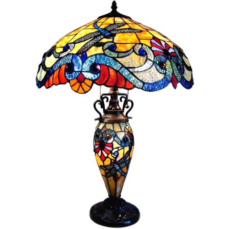 Chloe Lighting 3-Light Tiffany Style Dragonfly Double Lit Table Lamp with 18