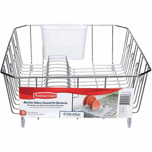Rubbermaid Large Antimicrobial Dish Drainer, Chrome