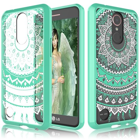 Retro Girls (LG K20 V Case, LG K20 Plus Clear Case, LG Harmony/ LG V5/ K10 2017 Cover For Girls, Tekcoo [TFlower] Retro Pattern Transparent [Turquoise] Adorable Ultra Slim Thin Hard TPU)