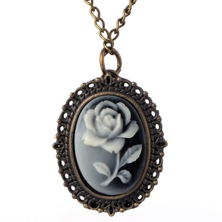 Cameo Style Flower Quartz Pocket Watch Necklace Antique Style Anti-Tarnish Watch, WP-20 Brass Quartz Pocket Watch