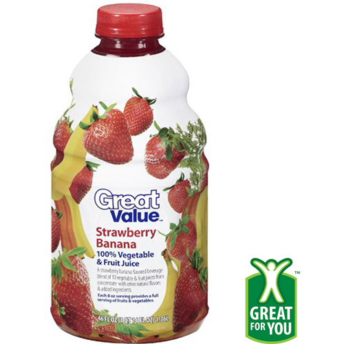 Great Value Strawberry Banana 100% Vegetable & Fruit Juice, 46 oz