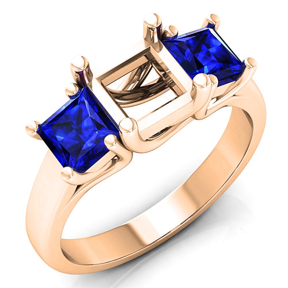 1.40 Carat (ctw) 18K Rose Gold Princess Cut Blue Sapphire Ladies Semi Mount Bridal Engagement Ring (No Center Stone)
