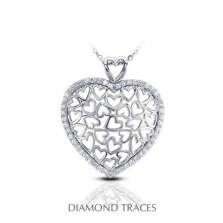 0.45 Carat Total Natural Diamonds 14K White Gold Pave Setting Heart Shape Fashion - 14k White Gold Heart Setting