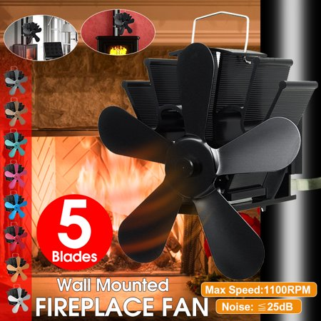 5 Blades Wood Burning Stove Fan,Wall Mounted Fireplace Heat Black Heater,Self-Powered Top Log Burner Silent Eco Friendly Fuel Saving Low Maintenance Disperses Warm Air ()