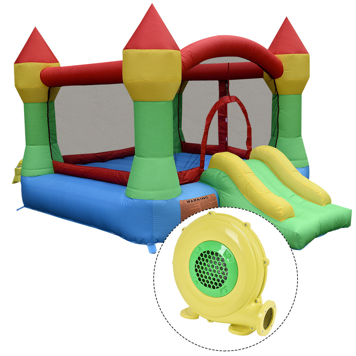 Costway Inflatable Mighty Bounce House Castle Jumper Moonwalk Bouncer w/480W Blower