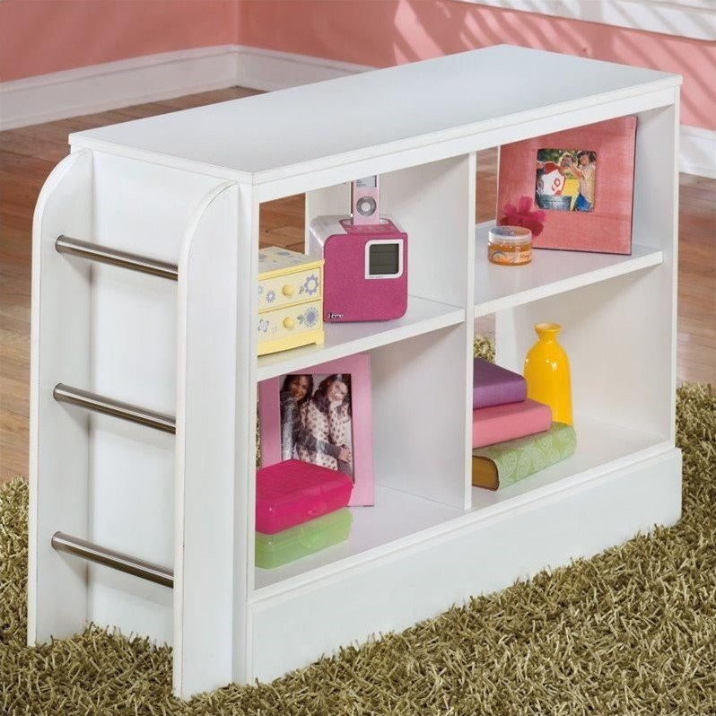 Ashley Lulu 4 Openy Cubby Ladder Wood Loft Bookcase in White by Ashley Furniture
