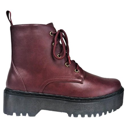 (Rika-1 Women Ankle High Platform Rubber Lug Sole Lace Up Combat Boots Wine)