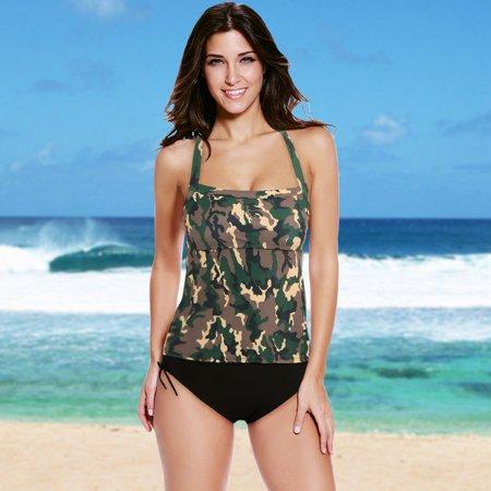 Sexy Women Bikini Set Swimwear Swimsuit Camouflage Print Spaghetti Strap Tankini Two Piece Bathing Suit -