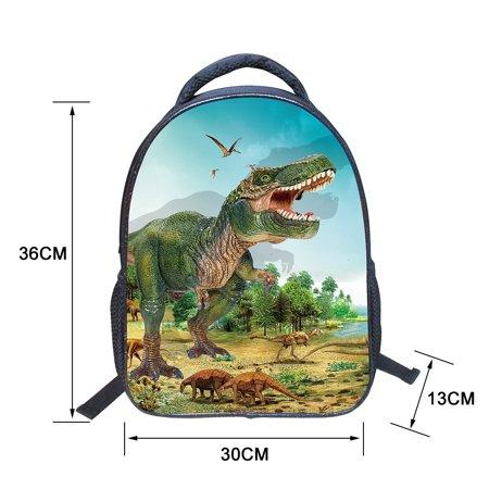 Kids Child 3D Animals Cool Dinosaur Print Canvas Backpack Schoolbag Shoulder Bag - Animal Print Backpacks