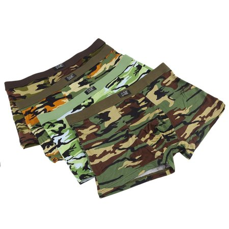 4pcs/Box Soft Breathable Men'S Underwear Military Camouflage Print Boxer Brief Fashion Comfortable Short Pants Panties thumbnail