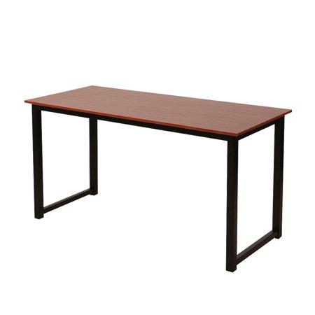Rustic Iron Frame Wood Grain Veneer Surface High Density Board Table 47*24*29