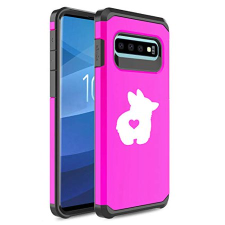 for Samsung Galaxy Shockproof Impact Hard Soft Case Cover Corgi Butt (Fuchsia, for Samsung Galaxy S10+)