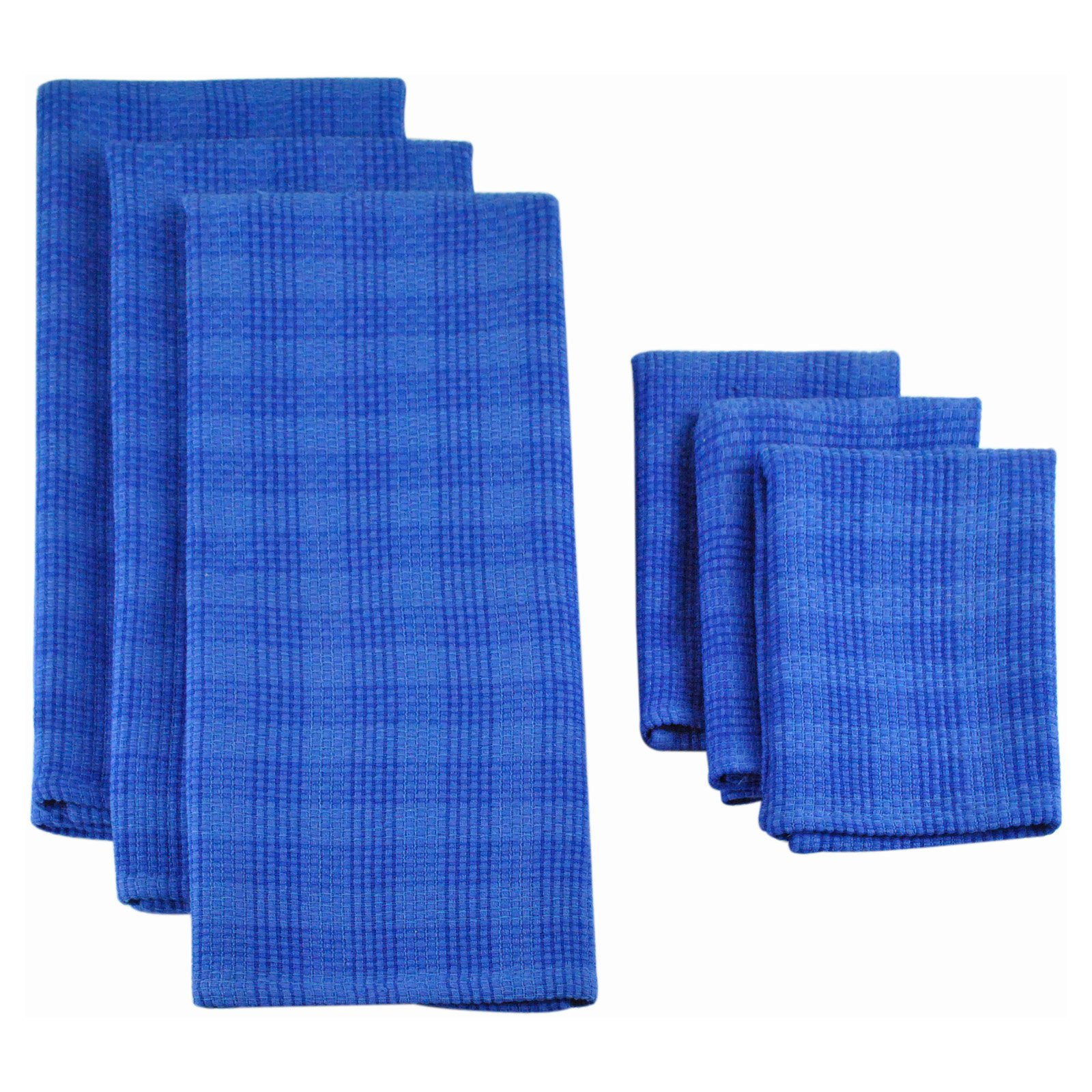 Design Imports Blueberry Plaid Heavyweight 6 Piece Dishtowel and Dishcloth Set