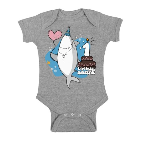 Awkward Styles Shark One Piece Top Shark Gifts for Babies Shark Top I am One Romper Baby Bodysuit Short Sleeve Shark Romper First Birthday Party Shark Themed Party Gifts for One Year Old Kids
