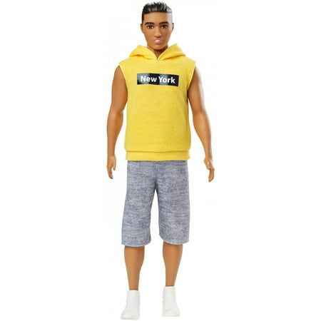 "Barbie Ken Fashionistas Doll Wearing Yellow ""New York"" Hoodie"