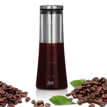 Zell Cold Brew Coffee Maker | Best Home Iced Coffee & Tea Maker with Removable Stainless Steel Coffee Filter | Strong Borosilicate Glass Cold Coffee Maker | 1 Quart (1000