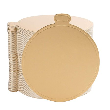 Mini Cake Boards - 100-Pack Metallic Gold 3.5-Inch Round Base for Single Serve Sweets, Plain Blank Design, Ideal for Dessert Buffet, Wedding, Parties, Catering Supplies European Plain Base