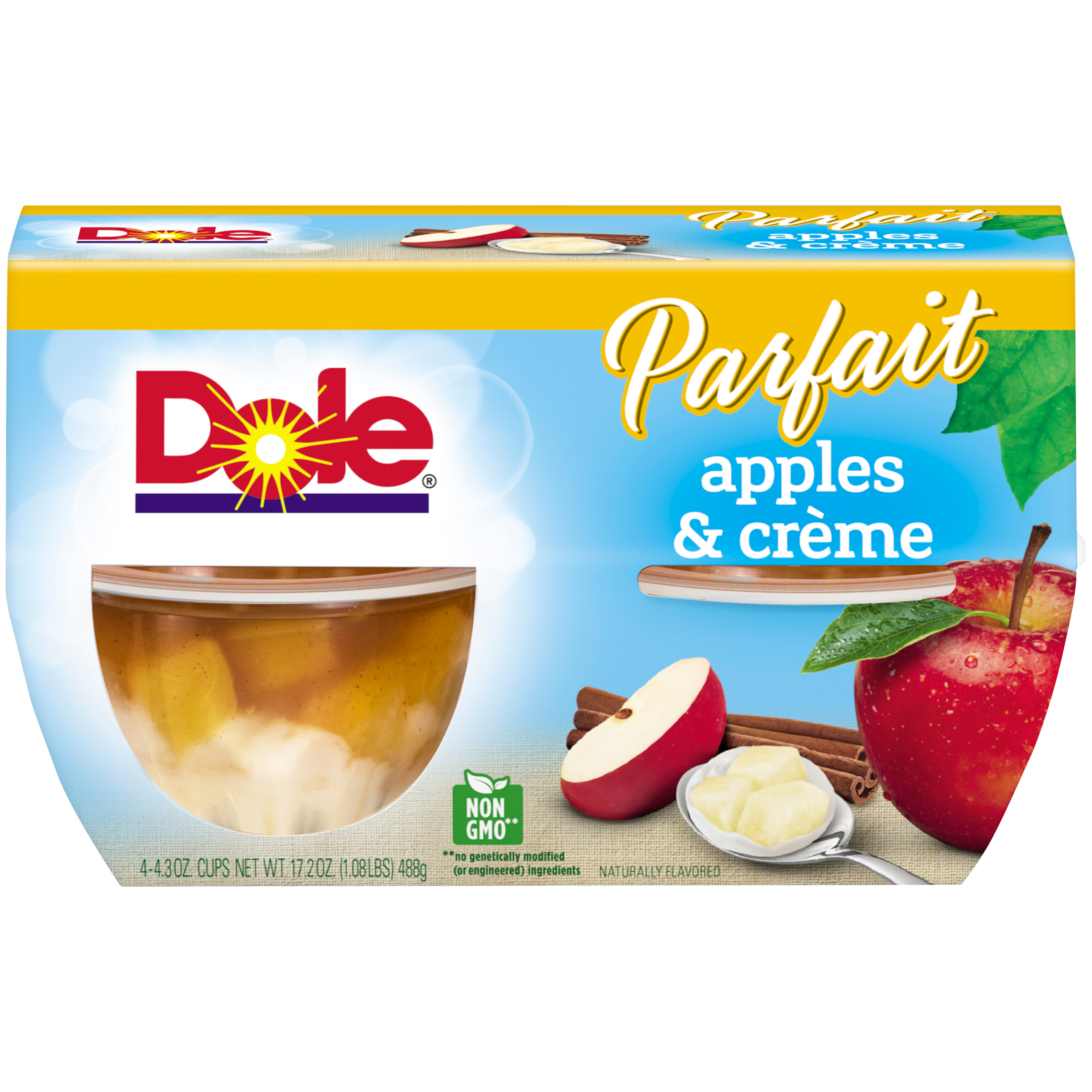 Dole Fruit Bowls, Apples & Creme Parfait, 4.3 Ounce (4 Cups)
