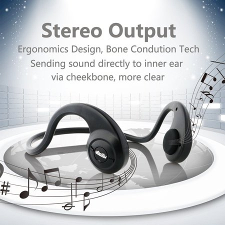 Conduction Headphones anti-sweat stereo Wireless Bone Bluetooth Headset w Mic