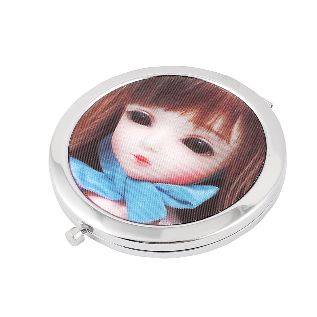 Girl Printed Metal Double Sided Folding Facial Cosmetic Mirror Silver Tone