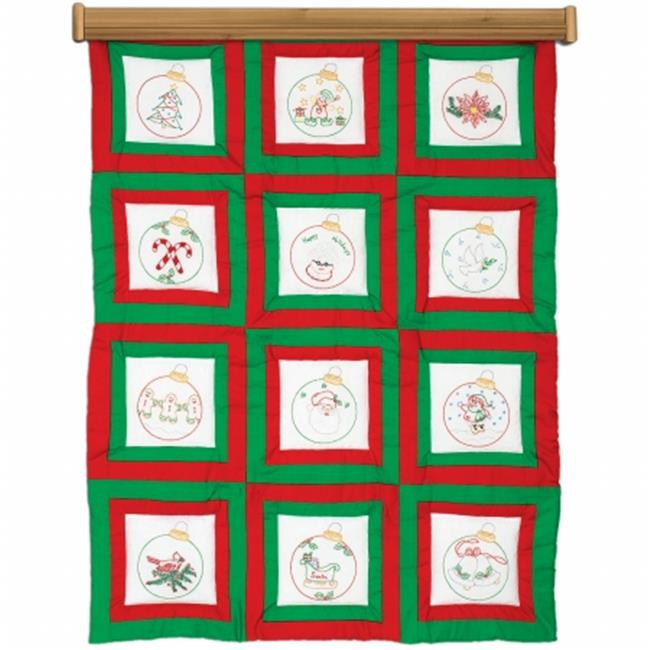 Themed Stamped White Quilt Blocks 9 in. x 9 in. 12-Pkg-Ornaments