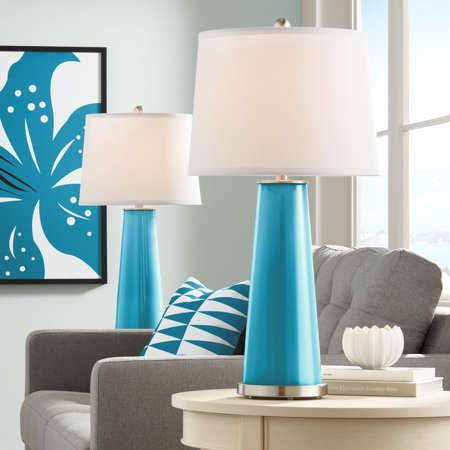 Color Plus Modern Table Lamps Set of 2 Caribbean Blue Sea Glass Tapered Column Plain White Drum Shade for Living Room Family - Caribbean Blue Color
