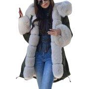 (Toponeto) Womens Long Sleeves Faux Fur Coat Winter Jacket Parka Hooded Fishtail Overcoat