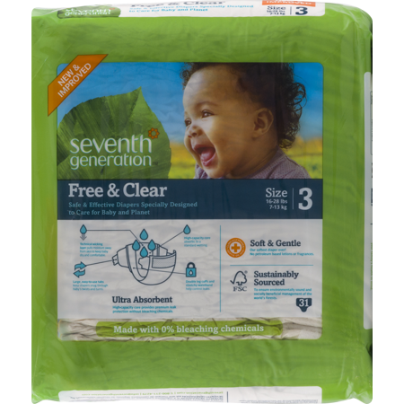 Seventh Generation Free & Clear Disposable Baby Diapers for Sensitive Skin with Animal Prints 3 - 124ct