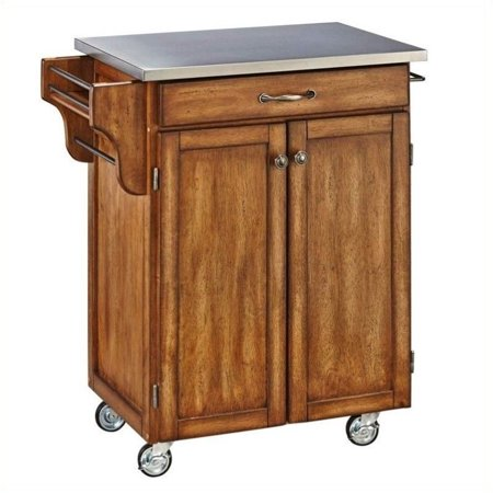 Bassett Cottage Collection - Hawthorne Collections Cottage Oak Wood Cart with Stainless Steel Top