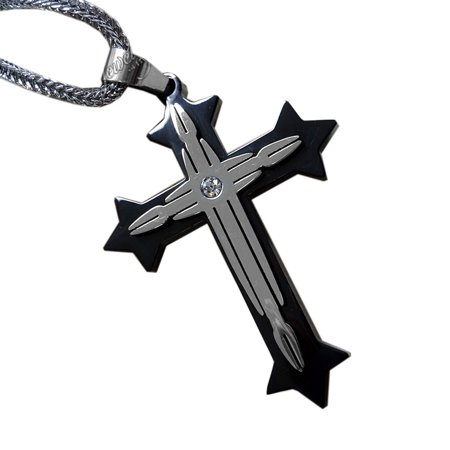 Black and Silver CZ Cross Pendant 22-Inch Men