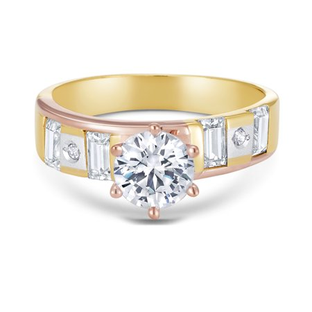 14K Tri Color Solid Gold 1 Ct. Round Cut Cubic Zirconia CZ Wedding - ENGAGEMENT RING ONLY - size 8