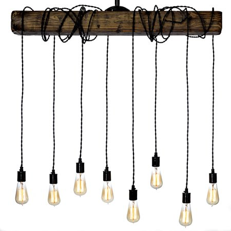 Allen Antique Lighting - Farmhouse Style Light Fixture - Wrapped Wood Beam Antique Decor Chandelier Pendant Lighting - Vintage Kitchen, Bar, Industrial, Island, Billiard and Edison Bulb Decor. Natural Reclaimed Style Wooden