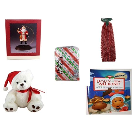 - Christmas Fun Gift Bundle [5 Piece] - Hallmark Ornament Display Stand -  Time Red Beaded Garland 18' Feet -  Flannel back Tablecloth 52