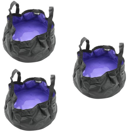 Three Portable Sink - TrendBox 3 x Foldable Wash Basin Sink Water Bag Portable Mini 8.5L For Footbath Camping Hiking Outdoor Durable Design - Purple