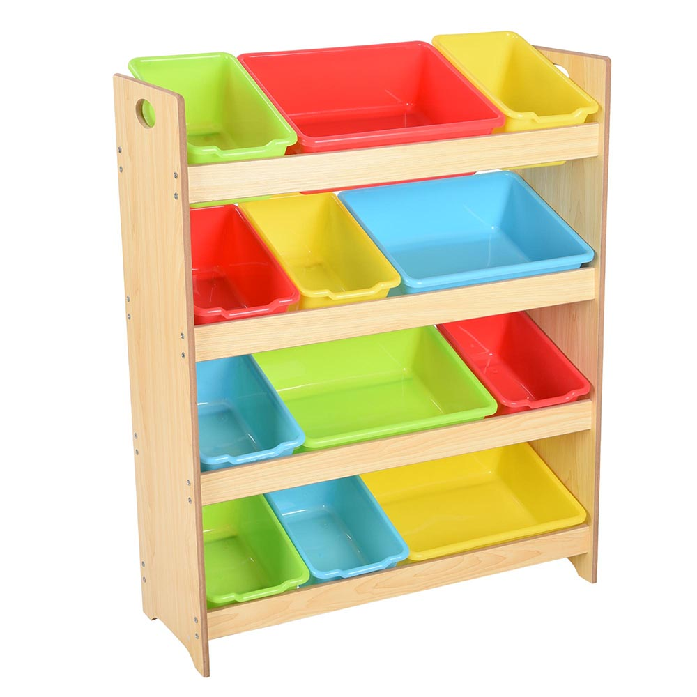 Yescom Kids Toy Organizer Storage Shelf 12 Removable Bins Box Playroom  Children Wood   Walmart.com