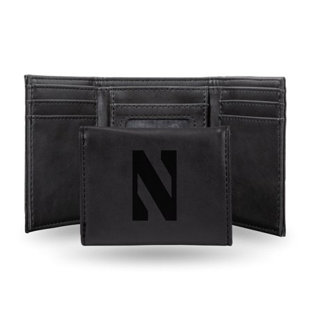 Wildcats Black Leather (Northwestern Wildcats NCAA Laser Engraved Black Synthetic Leather Trifold Wallet )