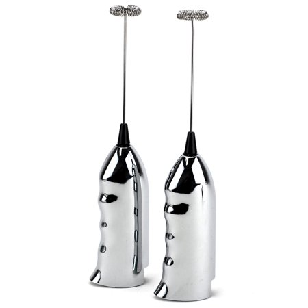Cordless Milk Frother, Stainless Steel Electric Hand Frother, Silver (pack Of 2)