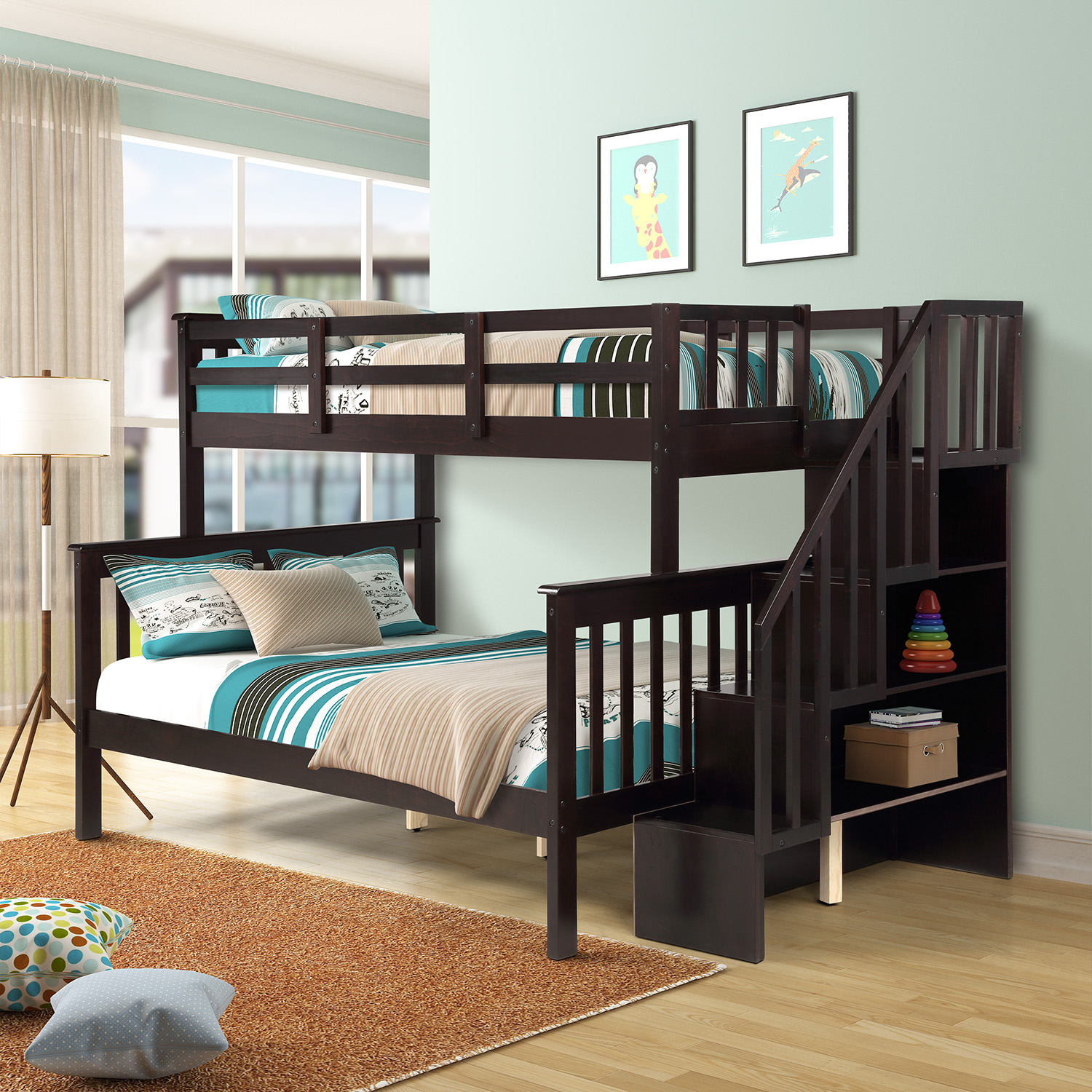 Bunk Bedideas: Twin-Over-Full Stairway Bunk Bed For Kids, Space Saving