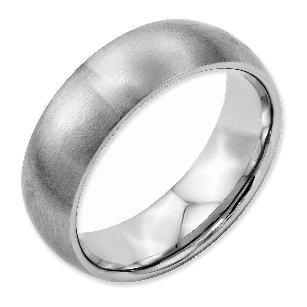Stainless Steel 7mm Brushed Band Size 7.5