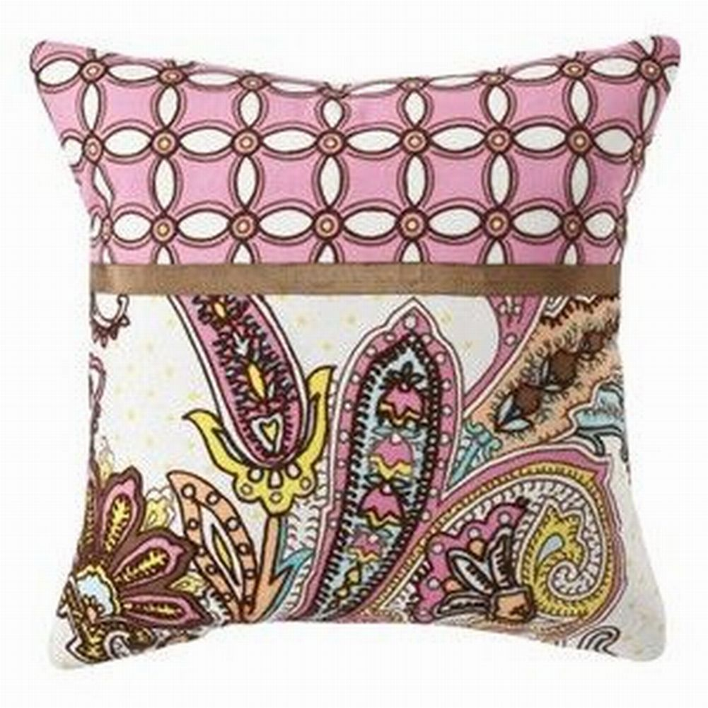Pink & Brown Embroidered Paisley Throw Pillow Accent Toss Cushion