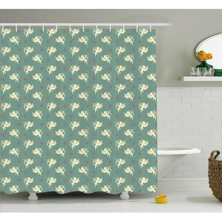 Green Decor Shower Curtain, Greek Mythology God of Love Cupid Pattern with Little Hearts Print, Fabric Bathroom ...