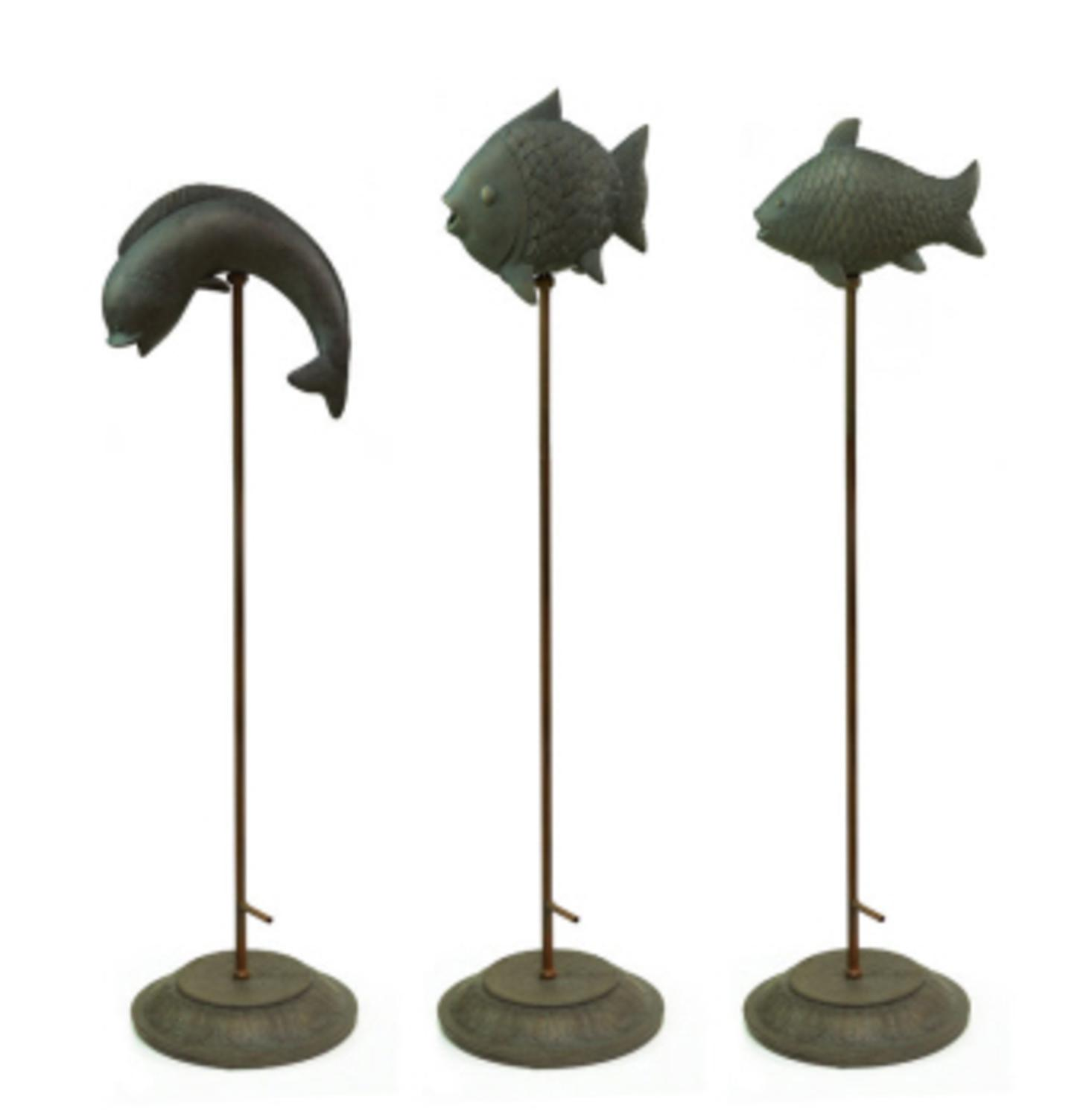 """Set of 3 Bronze Fish Fountain Garden Pond Accent Figurines w Stands 48"""" by CC Home Furnishings"""