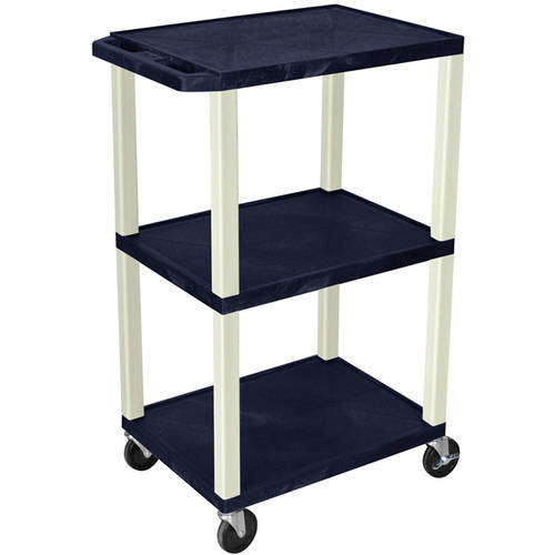 H. Wilson Tuffy 3-Shelf A/V Cart with Electric, Navy Shelves and Putty Legs