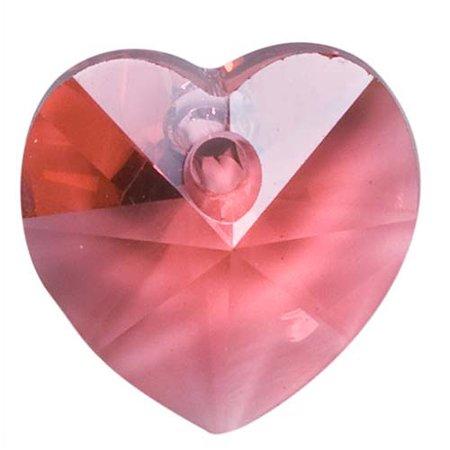 58d508753141c Swarovski Crystal, #6202 Heart Pendants 10mm, 6 Pieces, Indian Pink
