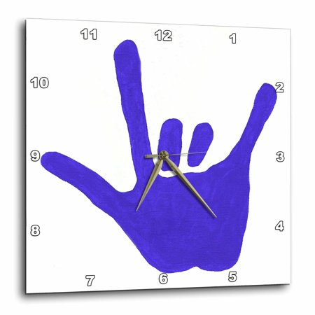 3Drose Love Sign Language Blue  Wall Clock  15 By 15 Inch